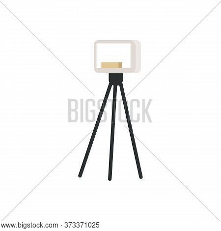 Spotlight Semi Flat Rgb Color Vector Illustration. Small Softbox, Floodlight On Tripod Isolated Cart