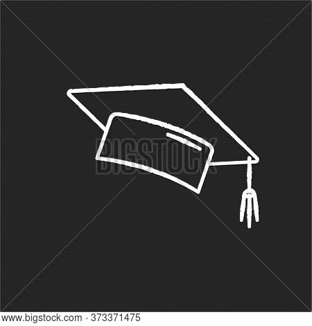 Graduation Cap Chalk White Icon On Black Background. College Mortarboard. University Graduate. Stude