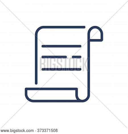 Document Thin Line Icon. Scroll, Contract, Certificate Isolated Outline Sign. Paperwork, Manuscript,
