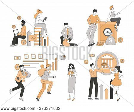 Happy Smiling People Earning And Saving Money, Making Business Analysis And Financial Plans Vector C