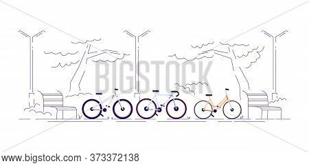 Bike Ride In Park Semi Flat Rgb Color Vector Illustration. Healthy Lifestyle Activity, Outdoor Train