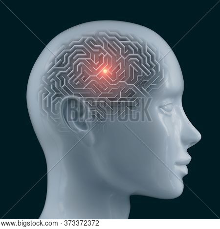 Brain Shaped Maze With Clipping Path Included. Conceptual Image Of Science And Medicine. 3d Illustra