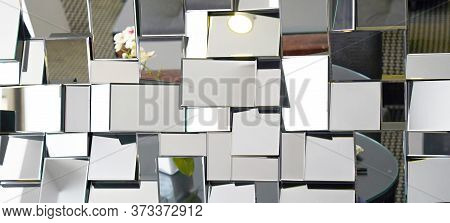 Mirror With Foursquare In Wall, Decoration And Reflection. Abstract Glass Background. Polygonal Surf