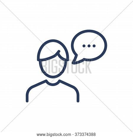 Speaking Person Thin Line Icon. Man With Speech Bubble, Thought Cloud Isolated Outline Sign. Communi