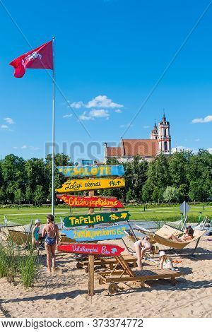 Vilnius, Lithuania - June 25 2020: Open Beach, A Resort Vacation In The Centre Of Vilnius, Lithuania