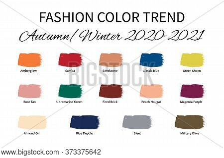 Fashion Color Trend Autumn Winter 2020 - 2021. Trendy Colors Palette Guide. Brush Strokes Of Paint C