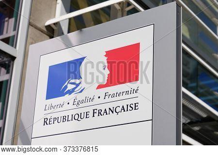 Bordeaux , Aquitaine / France - 05 28 2020 : Republique Francaise Sign Logo For France Republic With