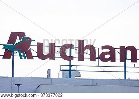 Bordeaux , Aquitaine / France - 12 04 2019 : Auchan Supermarket Hypermarket Logo Sign Brand Store Sh