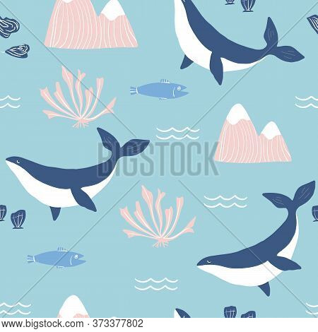 Simple Whale Orcas, Pink Mountains And Sea Shells Blue Background Seamless Pattern. Vector Illustrat