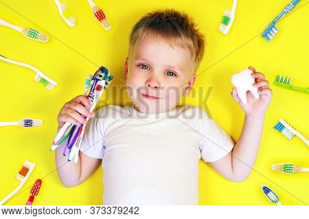 Happy Boy Child Kid Holding A Toothbrush And A Tooth Toy Surrounded By Toothbrushes On Yellow Backgr