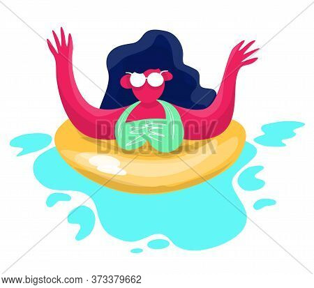 Stock Vector Illustration Of Girl Waving Hands In Bikini On A Rubber Ring. Relax On The Beach Of The