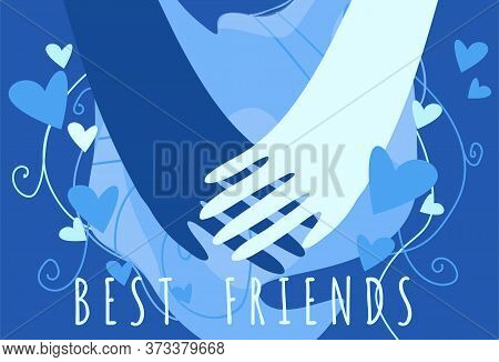 Stock Vector Illustration Of Friendship Concept. Two Friends Holding Hands On An Abstract Background