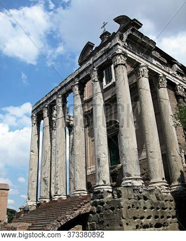 Rome / Italy - August 8, 2015: Fori Romani, Ancient Site Of City Of Rome