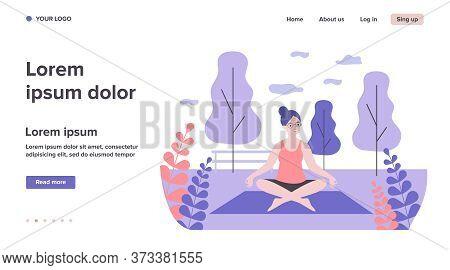 Happy Senior Woman Practicing Yoga Outdoors. Lotus Pose, Meditation, Activity Flat Vector Illustrati