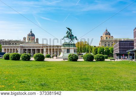 Vienna, Austria - May 2019: Statue Of Archduke Charles On Heldenplatz Square With Museums Of Art His