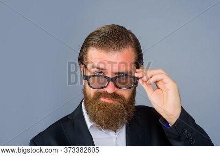 Male Fashion. Businessman In Glasses. Handsome Man In Sunglasses. Bearded Man In Glasses. Serious Ma