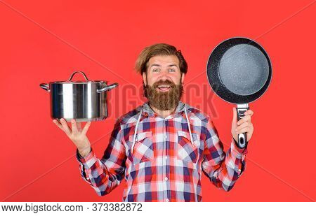 Man With Cooking Utensils. Happy Chef With Pot. Saucepan. Cooking. Kitchenware. Cooking Utensils. Co