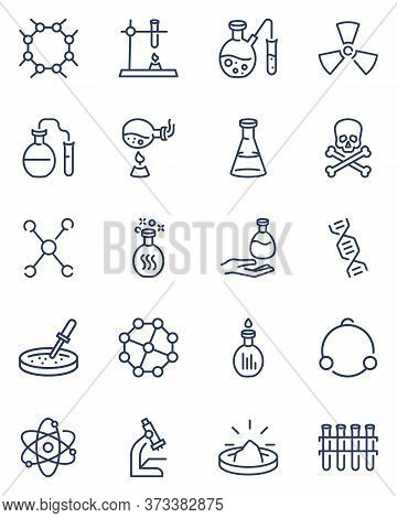 Chemistry Thin Icons Set. Formula Of Dna Molecule, Chemical Reaction, Scientific Experiment, Medical