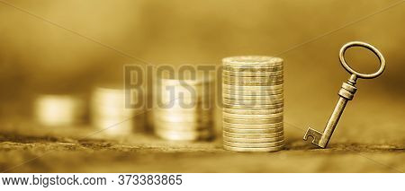 Gold Money Coins And Key, Coronavirus Financial Stimulus, Aid Package, Solution Symbol, Help Concept