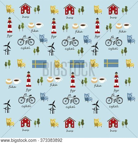 Swedish Symbols Pattern In Vector, Red House, Sweden Flag, Red Lighthouse, Chair, Bicycle, Coffee,