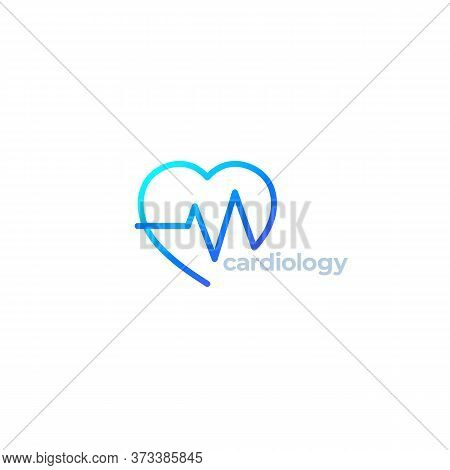 Cardiology Vector Logo With Heart, Eps 10 File, Easy To Edit