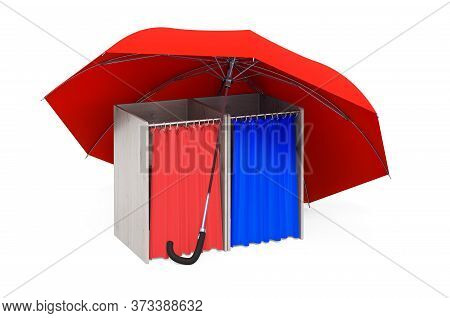 Polling Booths Under Umbrella, 3d Rendering Isolated On White Background