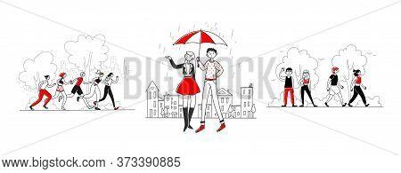 Outdoor Activities Set. People Walking In Rain, Hiking In Park, Jogging. Flat Illustrations. Leisure