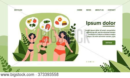 Pretty Young Women In Bikini With Different Diet. Food, Vegetable, Meal Flat Vector Illustration. Bo