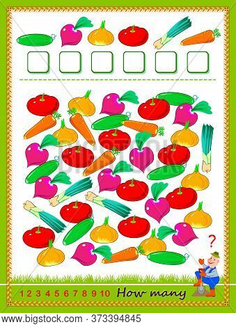 Math Education For Children. Count Quantity Of Vegetables And Write Numbers. Developing Counting Ski