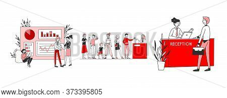 Checkout Ant Reception Set. Customers Standing At Desks, Counters, Analyzing Graphs. Flat Illustrati