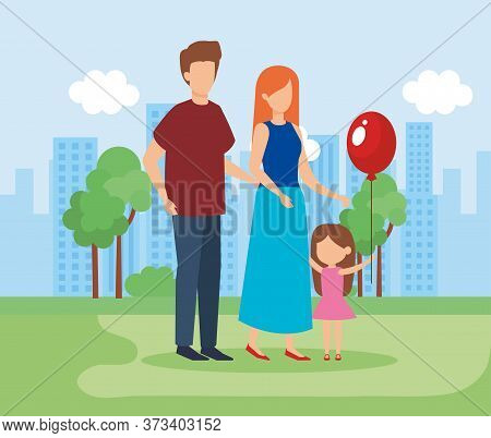 Parents Couple With Daughter And Balloon Helium Vector Illustration