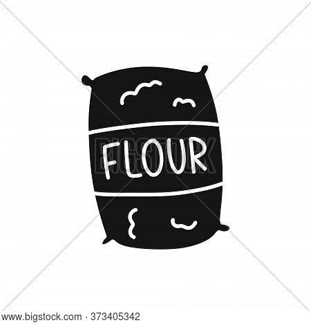 Bag Of Flour Doodle Icon, Vector Color Illustration