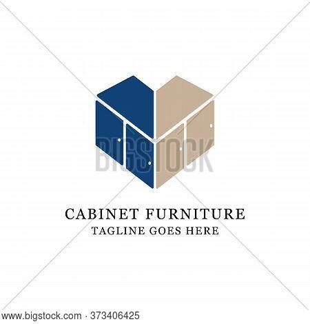 Love Cabinet Furniture Logo Design, Fit For Lovely Business And Store Logo Vector Illustration
