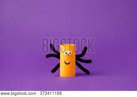 Halloween Spider On Purple For Halloween Concept Background. Paper Crafts, Easy Diy. Handcraft Creat