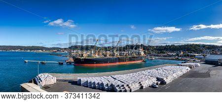 Panoramic View Of The Port Of Burnie In Tasmania, Australia.