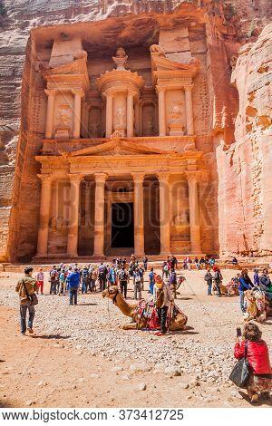 Petra, Jordan - March 24, 2017: Al Khazneh Temple The Treasury In The Ancient City Petra, Jordan