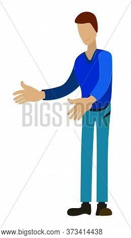 Tall Man Joyfully Reaches Out To Meet His Best Friend. Vector On A White Background