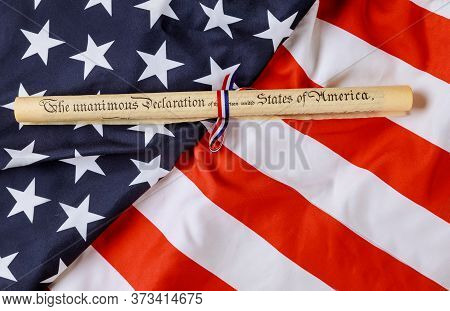 The Unanimous Declaration Document. Fourth Of July Day. Declaration Of Independence Parchment Roll O
