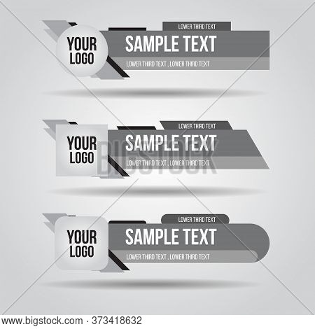 Lower Third White, Black And Grey Design Tv Template Modern Contemporary. Set Of Banners Bar Screen