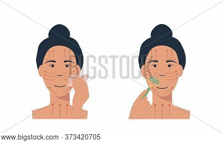 Woman With Jade Face Roller And Gua Sha Stone Scraper. Facial Yoga. A Girl Massaging Her Face. Acupu