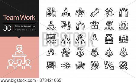 Team Work Icons. Business Success Concept Of Teamwork Partnership. Modern Line Design. For Presentat