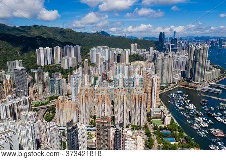 Sai Wan Ho, Hong Kong 20 June 2020: Top view of Hong Kong city