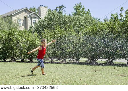 Cute Kid Boy  splashing With Gardening Hose On Backyard On Summer Day. Child Playing With Water Outs