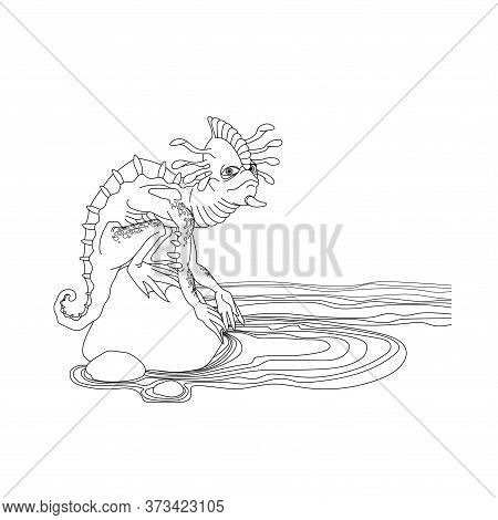 Reptile Mutant With A Human Face, Monster, Space Alien, On A Stone Rock On The Ocean Shore, Vector I