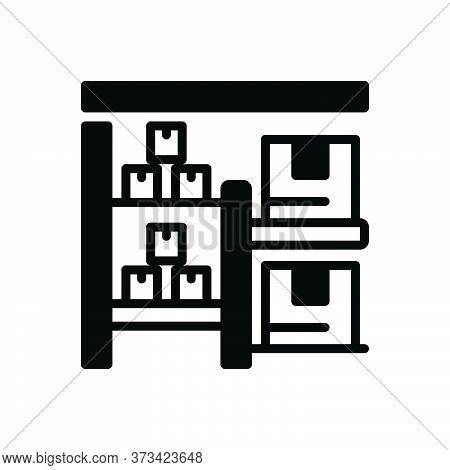 Black Solid Icon For Stock Goods Cargo Wares Commodities