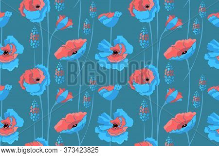Bart Floral Vector Seamless Pattern. Blue, Coral Color Flowers.