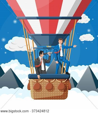 Business People On Air Balloon. Businessman With Spyglass. Team Work, Collaboration. Searching Busin