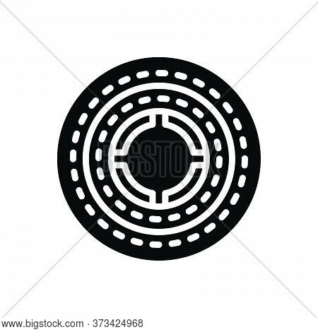 Black Solid Icon For Round Circular Annular Circinate Rotund Discoid