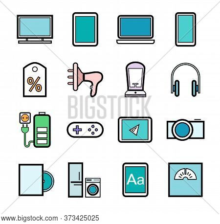 Gadgets And Devices, Icons, Set, Color. Electronics And Home Appliances. Color Images With A Black O