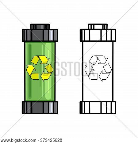 Ecological Recyclable Battery. Set Of Outline Cartoon Battery With Recycling Symbol On A White Backg